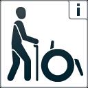 """Kennzeichen """"Barrierefreiheit geprüft - teilweise barrierefrei für Menschen mit Gehbehinderung"""""""