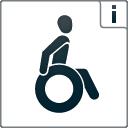 """Kennzeichen """"Barrierefreiheit geprüft - teilweise barrierefrei für Rollstuhlfahrer"""""""